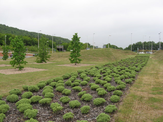 Landscaping on Leckwith roundabout, Cardiff