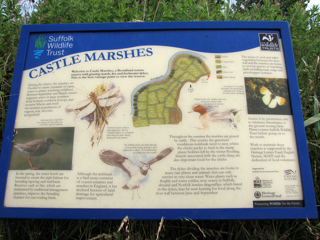 Castle Marshes Nature Reserve - information board