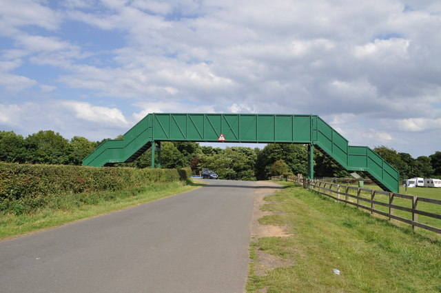 Over-track footbridge for racing at Oliver's Mount