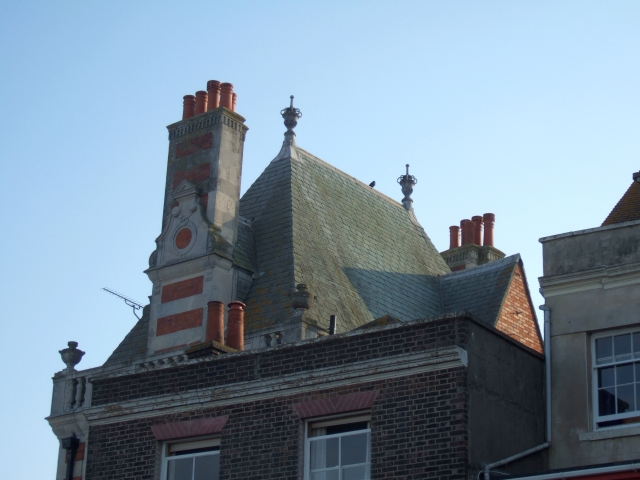 Rooftop finials and detail in Weymouth.