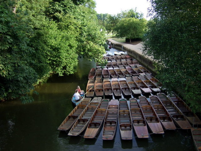 Punts on the Cherwell at Magdalen Bridge