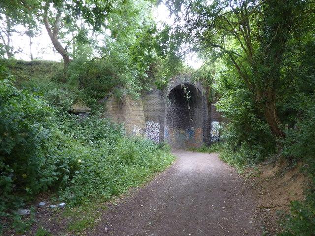 A disused railway bridge with graffiti