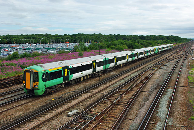 Up train approaching Gatwick Airport
