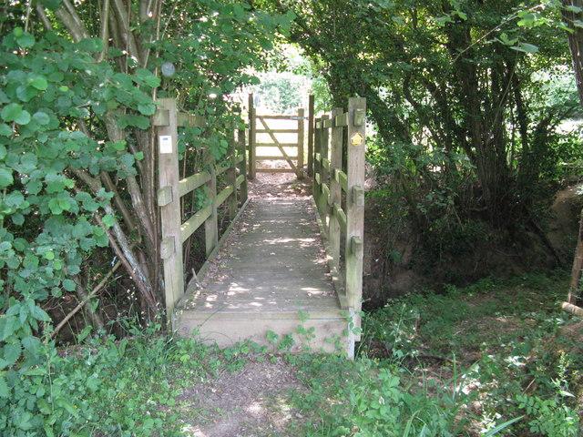 Footbridge over tributary of the River Uck near Huggett's Furnace