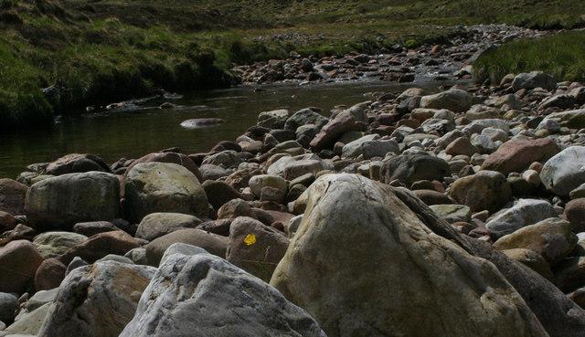 Waterworn river boulders