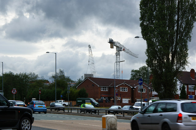 Houses hiding the work on the new Walkden High School