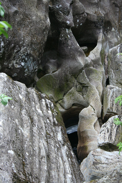 Water worn rocks in the Nevis Gorge.