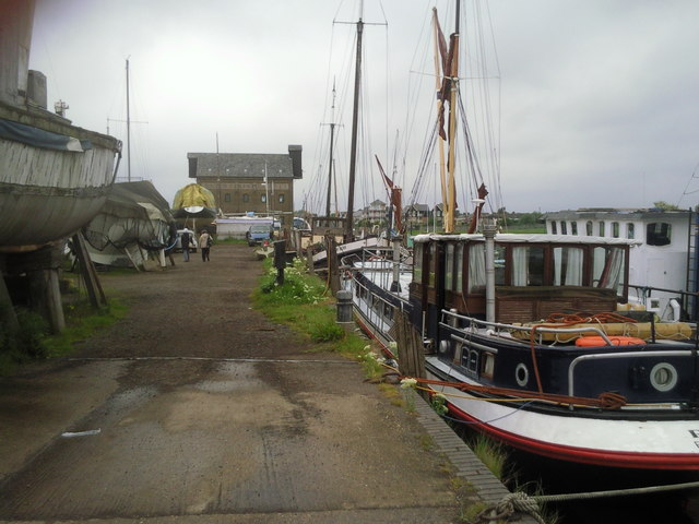 Saxon Shore Way passing through a boatyard at Faversham