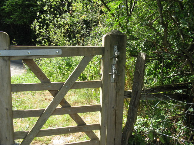 Two handed gate latches at exit onto Fowly Lane