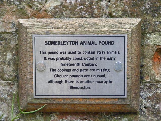 Information panel on Somerleyton Animal Pound