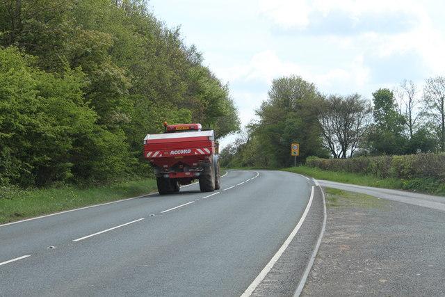 2010 : A37 a farm vehicle heading south toward Old Down