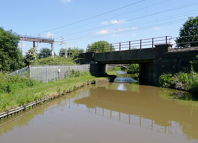 Railway crossing the Ashby Canal near Nuneaton, Warwickshire