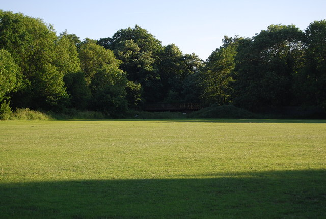 Looking across the Sports Ground to the rail bridge over the River Medway.