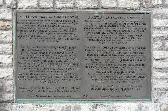 Tablet commemorating Bridgend bridges