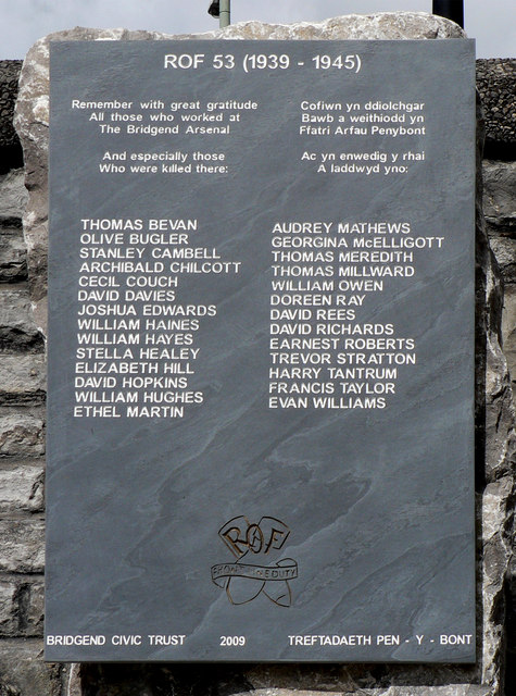 ROF 53 memorial tablet - Bridgend