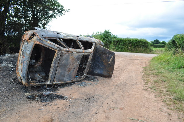 Mid Devon : Burnt Out Car