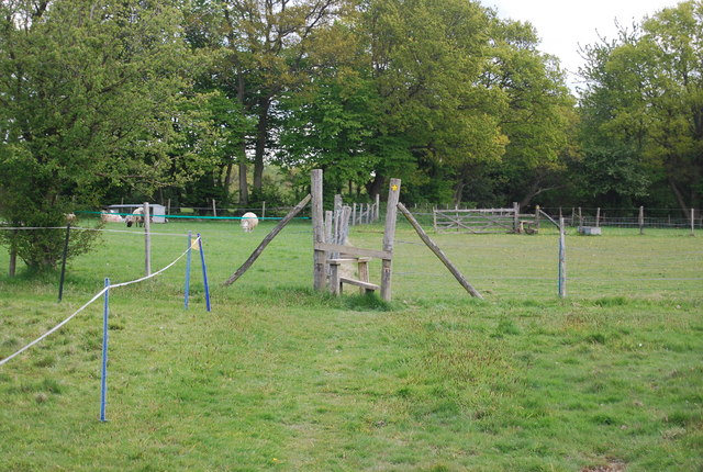 Stile on footpath crossing Fletching Common