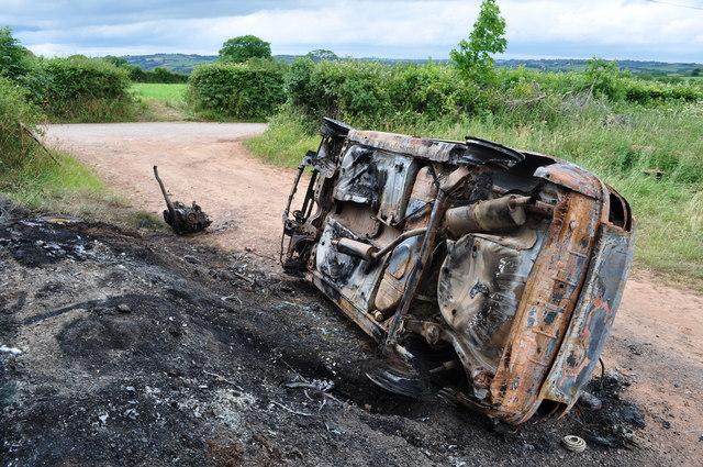 Mid Devon : Burnt Out Vehicle
