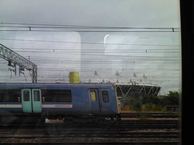 The Olympic Stadium, viewed from a DLR cab