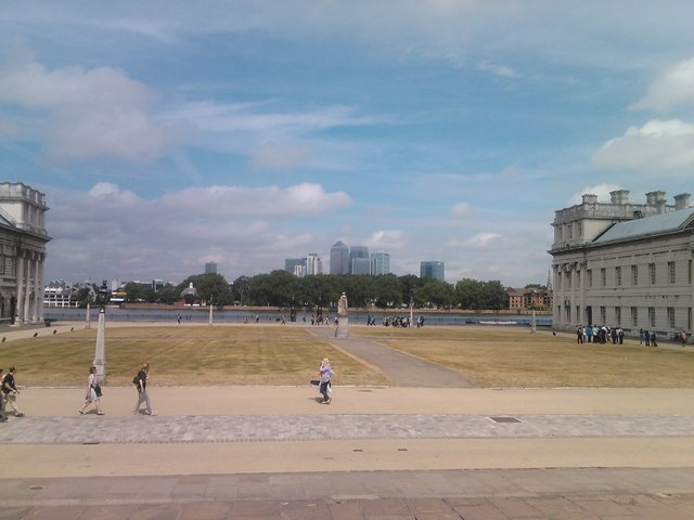 View of Canary Wharf from outside the Painted Hall and Chapel