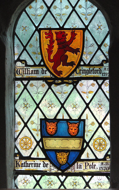 St Peter's church in Cringleford - heraldic glass