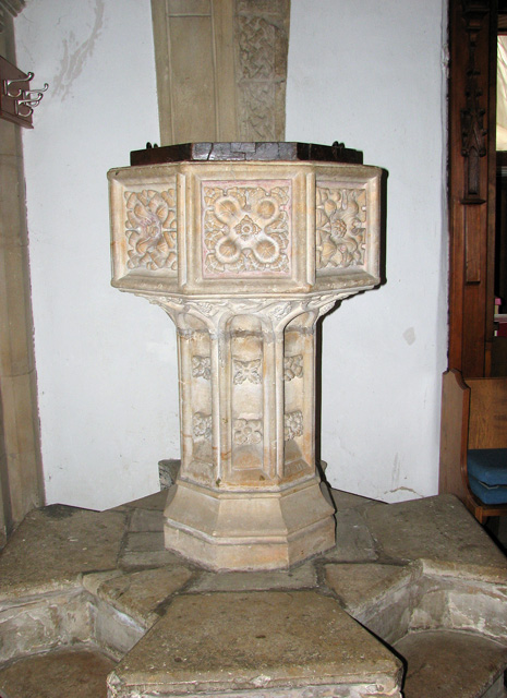 St Peter's church in Cringleford - C15 baptismal font
