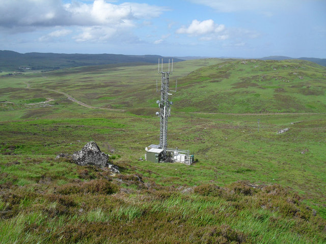 Communications mast on the north face of Beinn Rosail