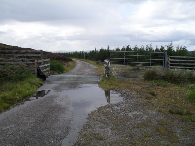 Cattle grid at the top of Glen Loth