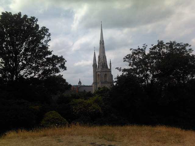 Our Lady of the Star and Sea RC Church, Croom's Hill, viewed from the hill in Greenwich Park