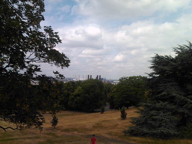 The O2 and Greenwich Power Station, viewed from the hill in Greenwich Park