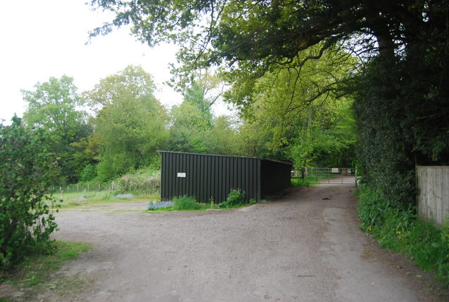 A black storage shed on the edge of Horsted Keynes