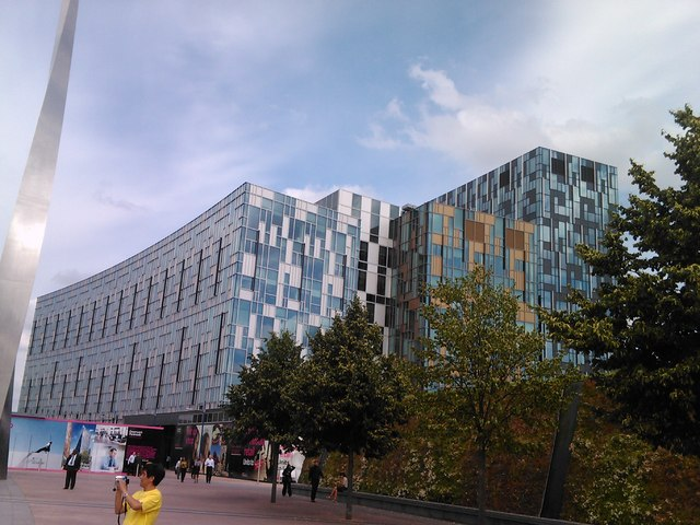 Colourful office blocks opposite the O2