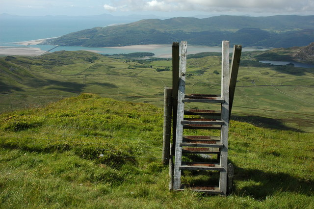 Ladder stile on Craig-y-llyn