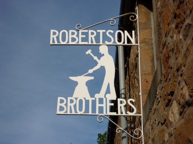 East Lothian Townscape : Robertson Brothers (Engineers), St Martin's Gate, Haddington - company sign