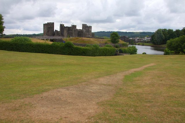 Grassed area by Caerphilly Castle