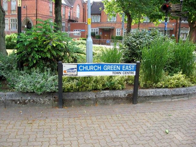 Church Green East street sign