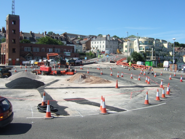 Roadworks at roundabout by harbour at Weymouth