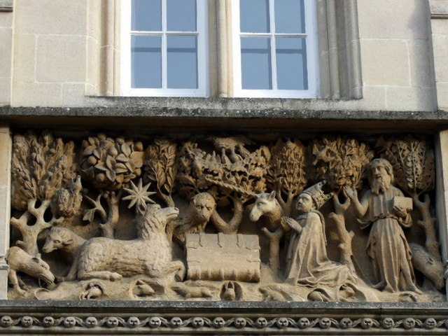Carved panel above Merton College entrance