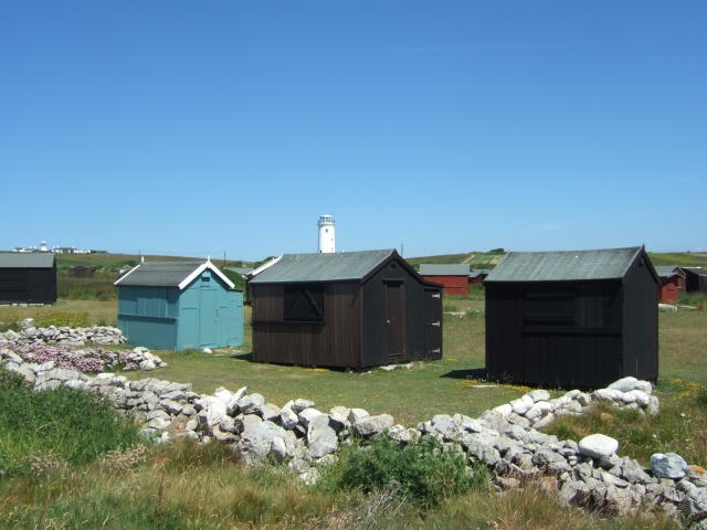 Beach huts and the Old Lower Light, Portland