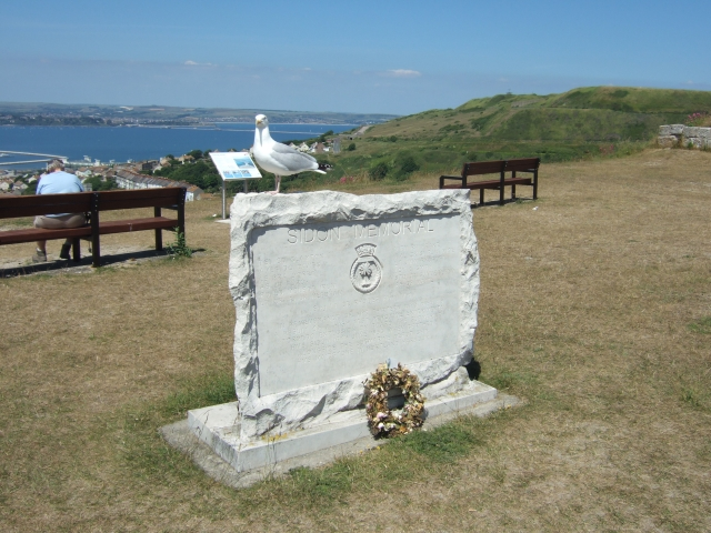 Seagull on the HMS Sidon memorial
