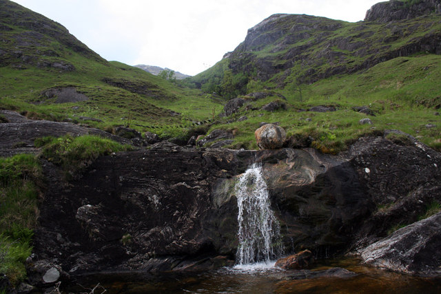 Waterfall beside the track in Glen Finnan