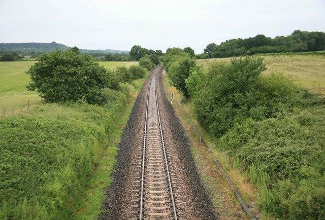 Waterloo - Exeter railway looking west nr West Hatch