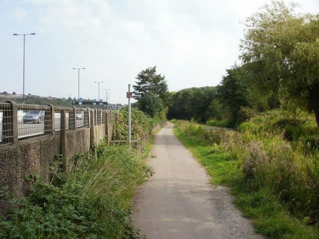 Canal path alongside motorway, Newport