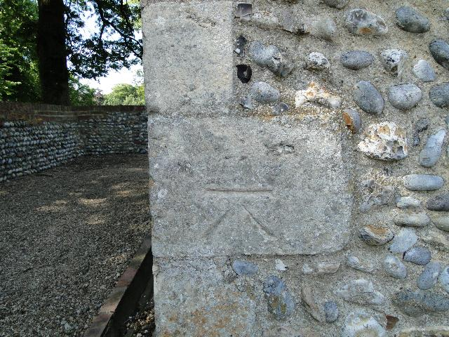 Bench Mark at Ormesby St Michael's Church, Norfolk
