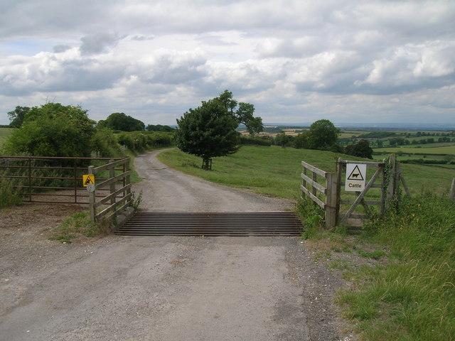 Cattle grid on minor road towards North Grimston