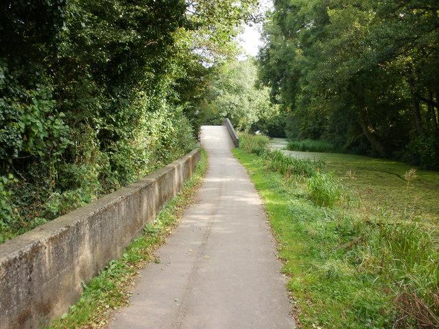 Canal path approaches Malpas Junction, Newport