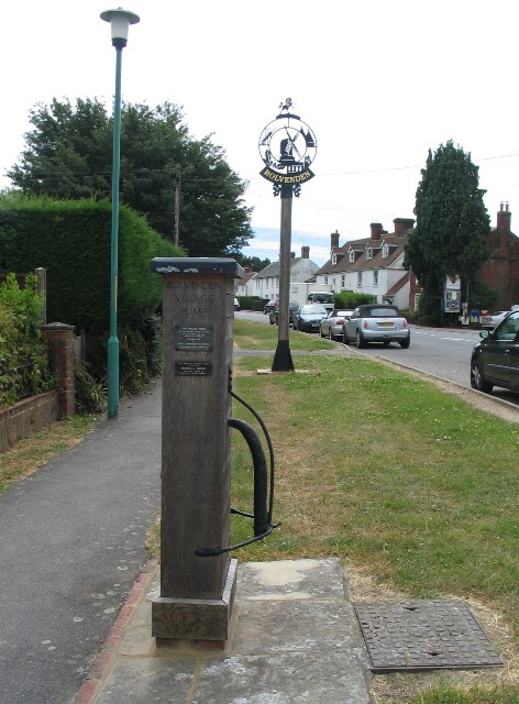 Rolvenden village pump and village sign