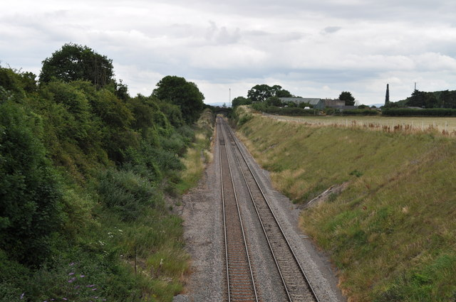 Looking along the railway towards Lydney