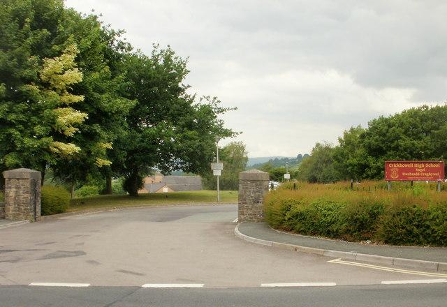 New Road entrance to Crickhowell High School