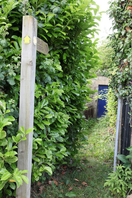 The beginning of a short public footpath
